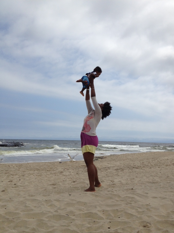 Mommy and baby at beach